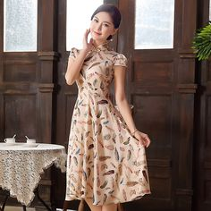 Charming Feathers Print Modern Qipao Cheongsam Dress - Qipao Cheongsam & Dresses - Women