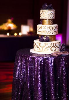 Lavender Round Sequin Overlay Tablecloth for Purple Wedding Cake table Events Bridal Shower decor by Arcadia Designs Purple And Gold Wedding, Purple Wedding Cakes, Purple Gold, Blush Pink, Rose Gold, Dark Purple, Light Purple, Plum Wedding, Purple Sparkle