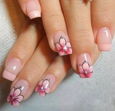 Pink French tip and one flower Nail Art Designs, Flower Nail Designs, Nail Polish Designs, Acrylic Nail Designs, Purple Nails, Glitter Nails, Teen Nails, Best Acrylic Nails, Beautiful Nail Designs