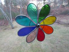 SUNCATCHER  Stained Glass Rainbow Flower by OstisInspirations