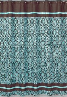 Turquoise And Brown Bella Kids Bathroom Fabric Bath Shower