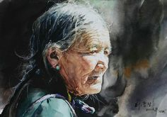 Liu Yunsheng is a visual artist. Several works by the artist have been sold at auction, including 'The Upriver of the Yellow River' sold Watercolor Paintings For Beginners, Watercolor Portraits, Watercolor Art, Mother Art, China Art, Portrait Art, Figure Painting, Indian Art, Artist