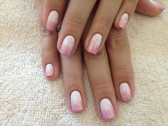 White Gel Nails with Pink Glitter on Tips its cute and i usually not a fan of pink..