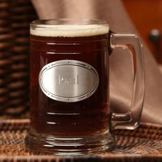 Glass Mug - Custom These heavy weight, clear, glass mugs can be personalized on the genuine pewter plate. Great personalized gifts for the wedding party.