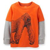 He'll love the big ape screen print on this warm layered tee. Soft cotton jerseys is so comfy!