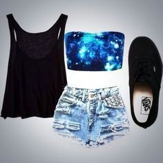 High-waisted distressed shorts, strapless Galaxy, black tank, vans.