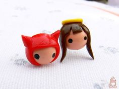 Polymer clay, Fimo, devil, Angel. These would make cute earrings, devil in one ear, angel in the other.
