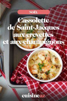 Ces cassolette de Saint-Jacques aux crevettes et aux champignons sont une entrée facile à cuisiner pour les fêtes de fin d'année. #recette#cuisine#entree#saintjacques #crevette #champignon #noel#fete#findannee #fetesdefindannee