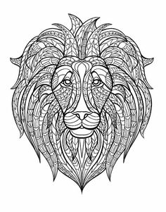 Free Coloring Page Adult Lion Head