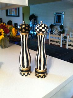 Just painted my brown salt and pepper mills Mackenzie-Childs like . . .
