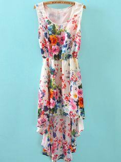 White Sleeveless Floral High Low Chiffon Dress - Sheinside.com