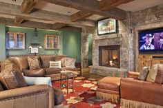 Dont like the wall color, but like the rock and the idea we could have a formal dining room on the other side of the fire place.