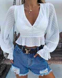 Solid V-Neck Ruffles Swiss Dot Bell Cuff Crop Blouse - Women Store Crop Blouse, Shirt Blouses, Jean Blouse, Shirts, Ruffle Shorts, Womens Fashion Online, Pattern Fashion, Sleeve Styles, Ideias Fashion