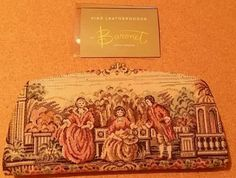 Vintage Wallet Change Baronet 5th Ave Floral Tapestry Colonial scene Kisslock