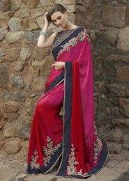 Party Wear Net Multi Colour Embroidered Work Saree