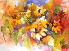 watercolor paintings, pour watercolor, watercolor flower