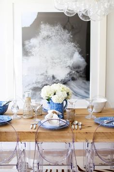 This is the one place you haven't thought to use rattan yet. #diningroom #diningtable #glassware #tablesetting #freshflowers #homedecor #placesettings #dinnerpartyideas White Springs, White Dishes, Bright Spring, Blue Plates, Creative Outlet, Pink Peonies, Rattan, Tablescapes, Table Settings