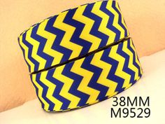 Blue & Yellow  Chevron 1.5 Grosgrain Ribbon  3 yards by KBRS, $3.00