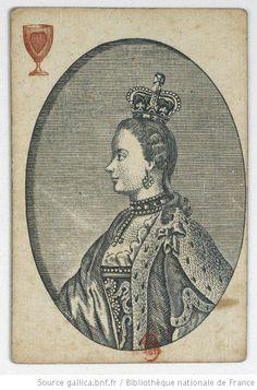 """[Jeu de cartes anglais aux enseignes françaises de fantaisie, dit """"du règne de George III"""" ou """"des monarques européens""""] : [jeu de cartes, estampe] Date d'édition : 1765-1776 Type : image fixe,estampe Format : 1 jeu de 52 cartes : gravure en taille-douce en couleur ; 9,1 x 6,2 cm Format : image/jpeg Droits : domaine public Identifiant : ark:/12148/btv1b10336519t"""