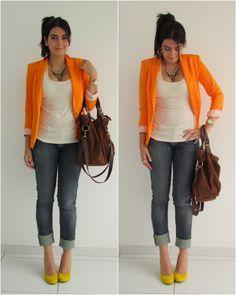 orange blazer & yellow shoes <3