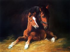 Mare and Foal Limited Edition Horse Racing Print by Artist Jacqueline Stanhope