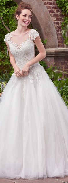Romantic Tulle & Satin Bateau Neckline A-Line Wedding Dresses With Beaded Lace Appliques & Cap Sleeves