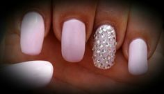 Acrylic nails with gel colour and crystals