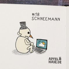 365 doodles: snowman/Schneemann Illustration, drawing, challenge, daily, draw every day, sketchbook, doodle