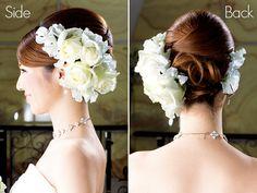 高めのトップは後ろにつくって気品を演出し、バックには下部にリズミカルなカールを施して可愛さもプラス。 Dress Hairstyles, Down Hairstyles, Wedding Hairstyles, Bridal Makeup, Bridal Hair, Hair Up Styles, Wedding Headdress, Japanese Wedding, Hair Arrange