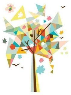 geometric tree decal for modern decor