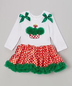 Take a look at this Red & Green Polka Dot Cupcake Pettidress - Infant, Toddler & Girl on zulily today!