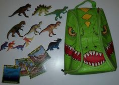Neat-Oh ZipBin T Rex Dinosaur Bring Along Backpack PlayMat + 11 Toys and 4 Cards