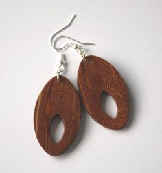 Wood-like earrings made with a polymer clay faux wood grain technique