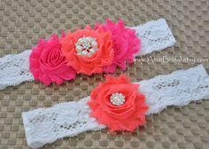 Hot Pink garter,Coral Garters,Fucsia garters,Garters Sets,Toss lace Garter,Coral Wedding,Hot Pink wedding,Fuschia Coral wedding, Garter Belt