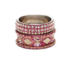 Chamak by Priya Kakkar Set of 2 Multi-Pink Crystal Gold Chain Bangle Bracelets found on Polyvore