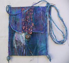 Linda Stokes Textile Artist: New Bag Fabric Purses, Fabric Bags, Textile Fiber Art, Textile Artists, Art Bag, Boho Bags, Denim Bag, Handmade Beads, Quilts