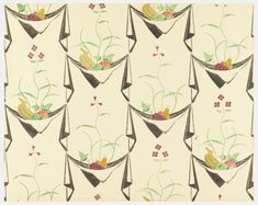 """""""Napkin and Fruit"""" wallpaper design by Edward Bawden, 1926."""