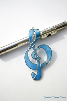 Stained Glass Wispy Blue Treble Clef Musical by StainedGlassFayre