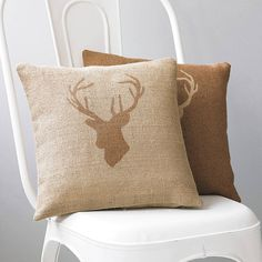 Hessian Stag's Head Cushion Cover - autumn home accessories Modern House Design, Home Design, Home Interior Design, Interior Decorating, Stag Cushion, Deer Pillow, Motifs Animal, Stag Head, Country Crafts