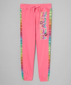 Loving this Rose 'Peace' Tie-Dye Sweatpants - Girls on #zulily! #zulilyfinds