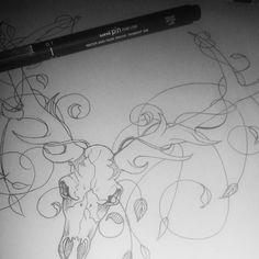 Sketch #2 out lined with a uni point 0.1 fineliner. Hmmmm..... #workinprogress #theweirdandwonderful #stickercomp  #deer #skull #illustration #fineliner  #sticker #design #sketch #wip