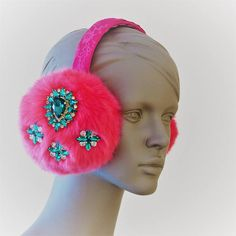 White Hearts Vines Valentines Day Pink Winter Earmuffs Ear Warmers Faux Fur Foldable Plush Outdoor Gift