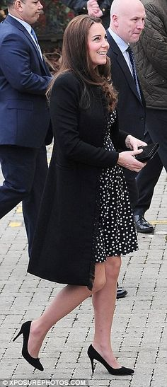 March 18, 2015 - Spot the Duchess in a £35 frock: Pregnant Kate dazzles in a polka-dot ASOS dress as she meets children and volunteers in London | Daily Mail Online