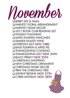fall bucket list Looking for the November 2020 Seasonal Living List?Order the entire sethereand receive it in a hot pink mailer ready to celebrate eachmonth of the year.