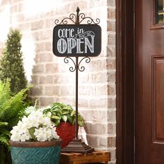 Let your guests know you're open or closed with our Metal Standing Sign! The chalkboard lettering provides vintage flair.