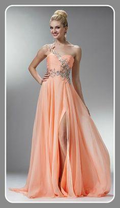 Vestido de un hombro en color Naranja y aplicaciones plateadas, Ivory Campeche