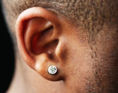 Diamond Stud Earrings For Men Polymer Studs In Silver 4mm Post Guys Small 431