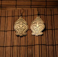 Brass earrins with ornament etched. Patinated.  Handwork.  Ear hooks - brass. Height without hooks - 3.4 cm or 1.3 inch          Welcome and thank