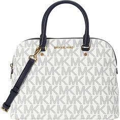 Pre-owned Michael Kors Michael - Large Cindy Mk Signature Dome Navy /... ($215) ❤ liked on Polyvore featuring bags, handbags, purses, michael kors purses, white purse, dome satchel purse, michael kors handbags and white hand bags