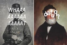 In his newest series The American _tier, artist Shawn Huckins explores 19th century American paintings in context of 21st century slang. After replicating paintings by hand, he superimposes text-messaging pop culture jargon with white paint – no photoshop involved here! The juxtaposition of old and new begs the question: what would our founding fathers think of present day lexicons!?